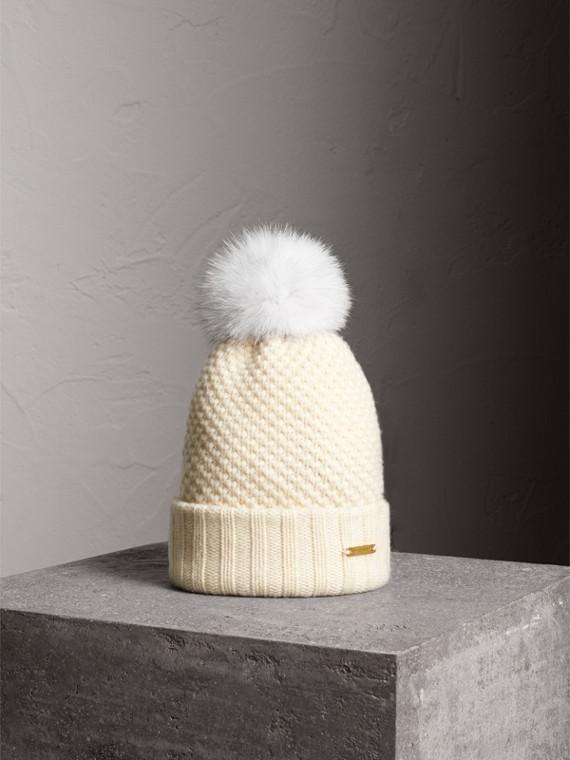 Fur Pom-Pom Beanie in Ivory