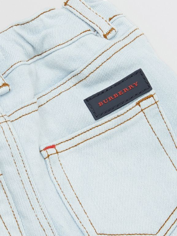 Relaxed Fit Stretch Denim Jeans in Light Blue - Children | Burberry - cell image 1