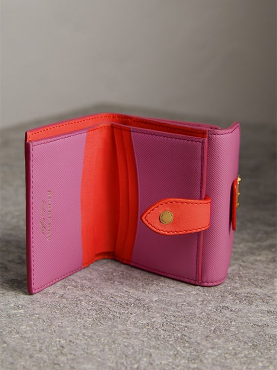 Trench Leather Wallet in Rose Pink - Women | Burberry United Kingdom - cell image 3