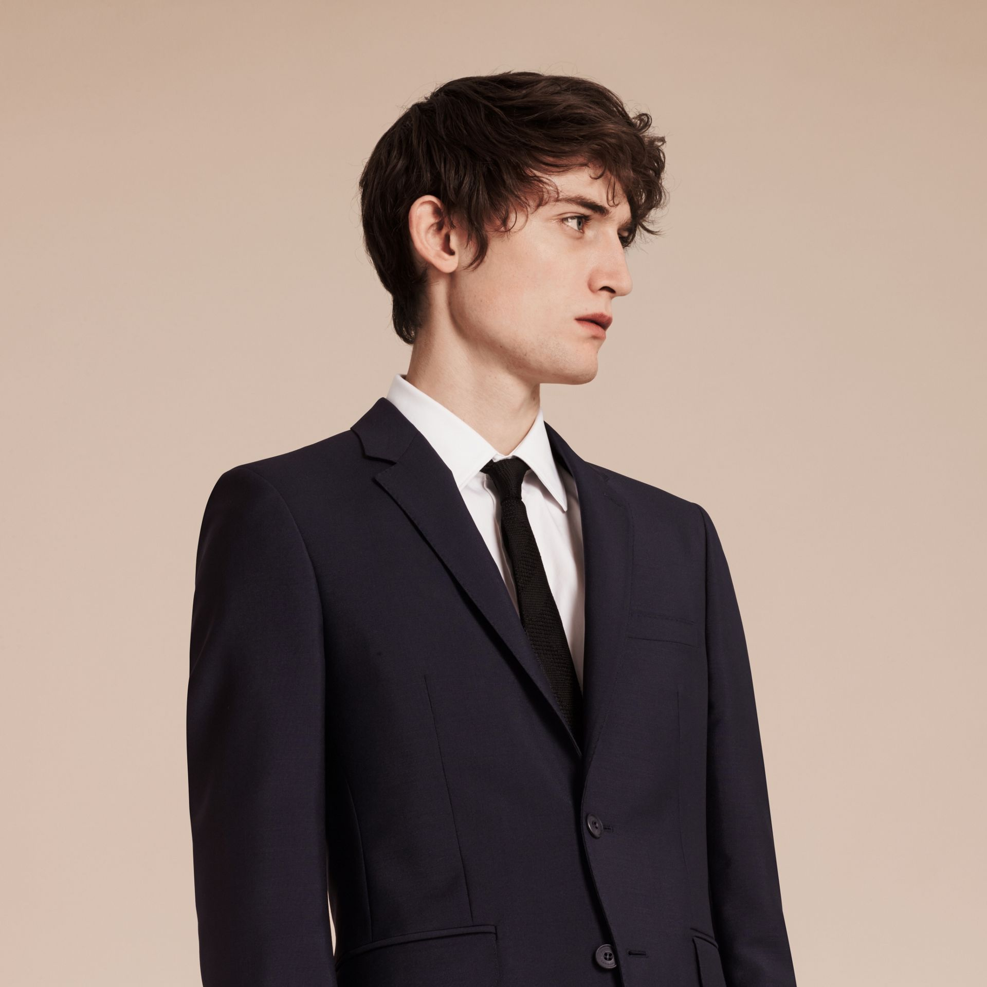 Slim Fit Wool Mohair Part-canvas Suit in True Navy - Men | Burberry - gallery image 5