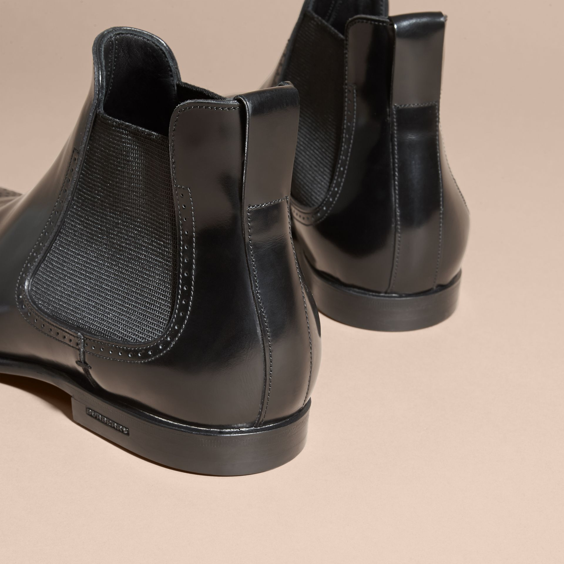 Perforated Detail Leather Chelsea Boots in Black - Men | Burberry - gallery image 4
