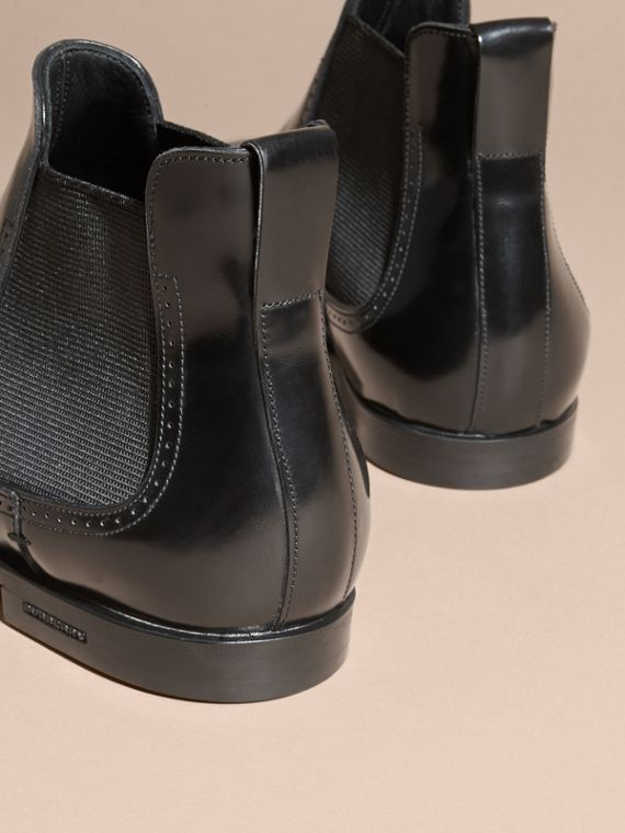 Black Perforated Detail Leather Chelsea Boots Black - cell image 3