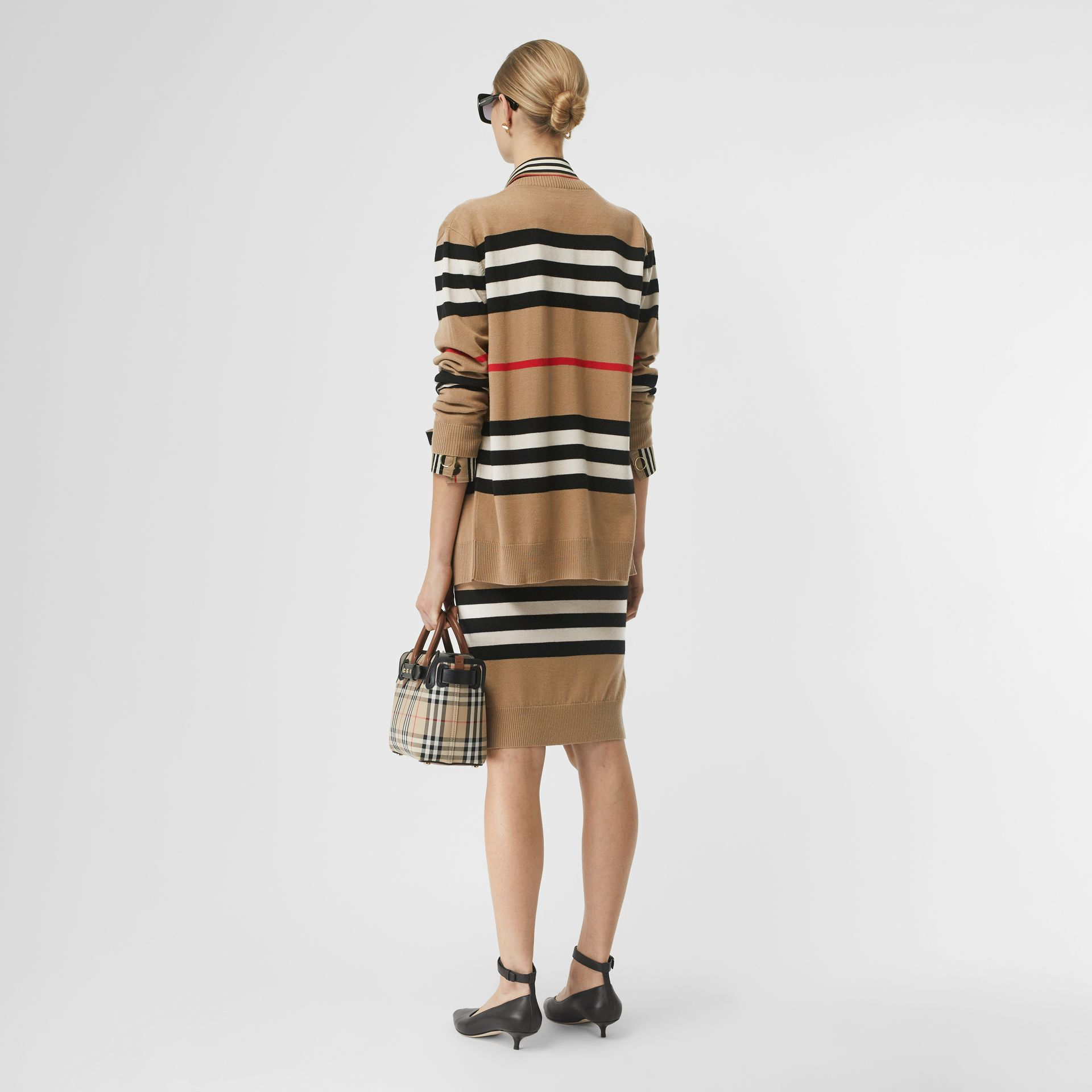 Icon Stripe Merino Wool Cardigan in Archive Beige - Women | Burberry - gallery image 2
