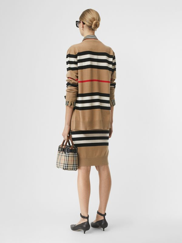 Icon Stripe Merino Wool Cardigan in Archive Beige - Women | Burberry United Kingdom - cell image 2