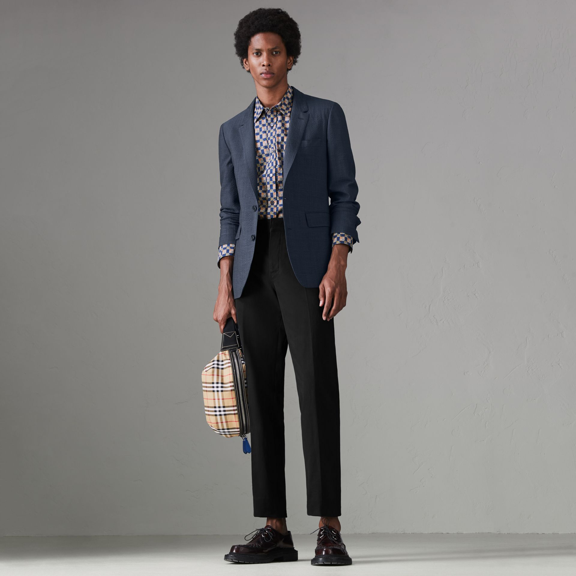 Windowpane Stretch Wool Tailored Jacket in Bright Navy - Men | Burberry Australia - gallery image 0