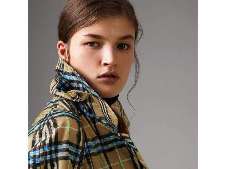 Scribble Check Cotton Gabardine Car Coat in Bright Blue - Women | Burberry Canada - cell image 4