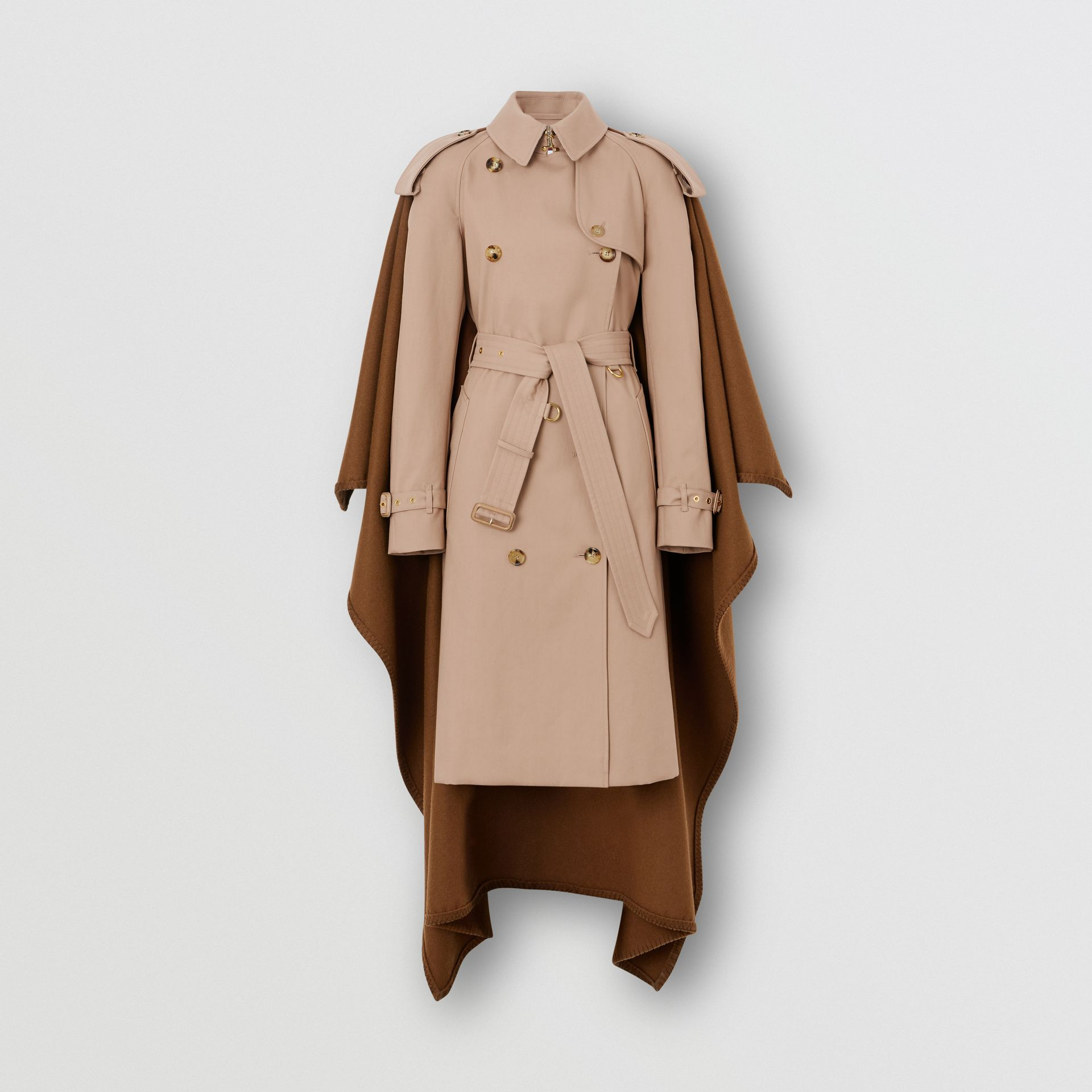 Blanket Detail Cotton Gabardine Trench Coat in Camel - Women | Burberry Singapore - gallery image 3