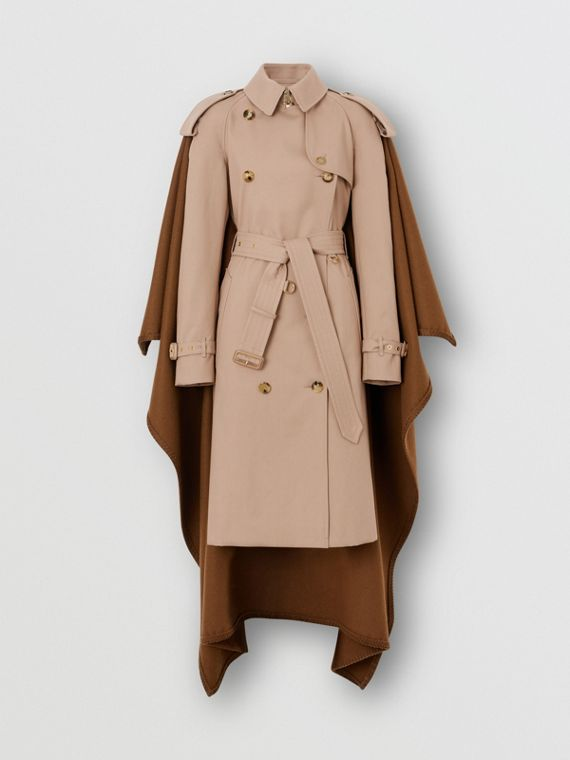 Blanket Detail Cotton Gabardine Trench Coat in Camel