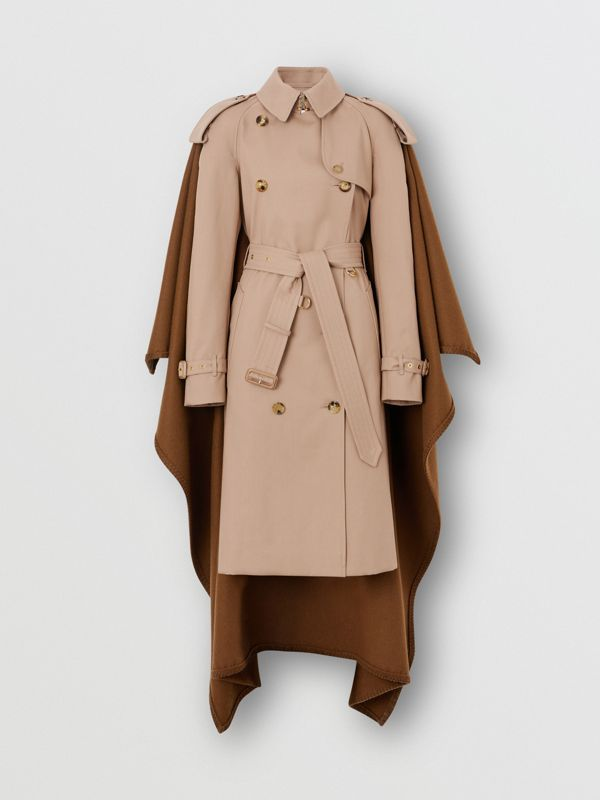 Blanket Detail Cotton Gabardine Trench Coat in Camel - Women | Burberry - cell image 3