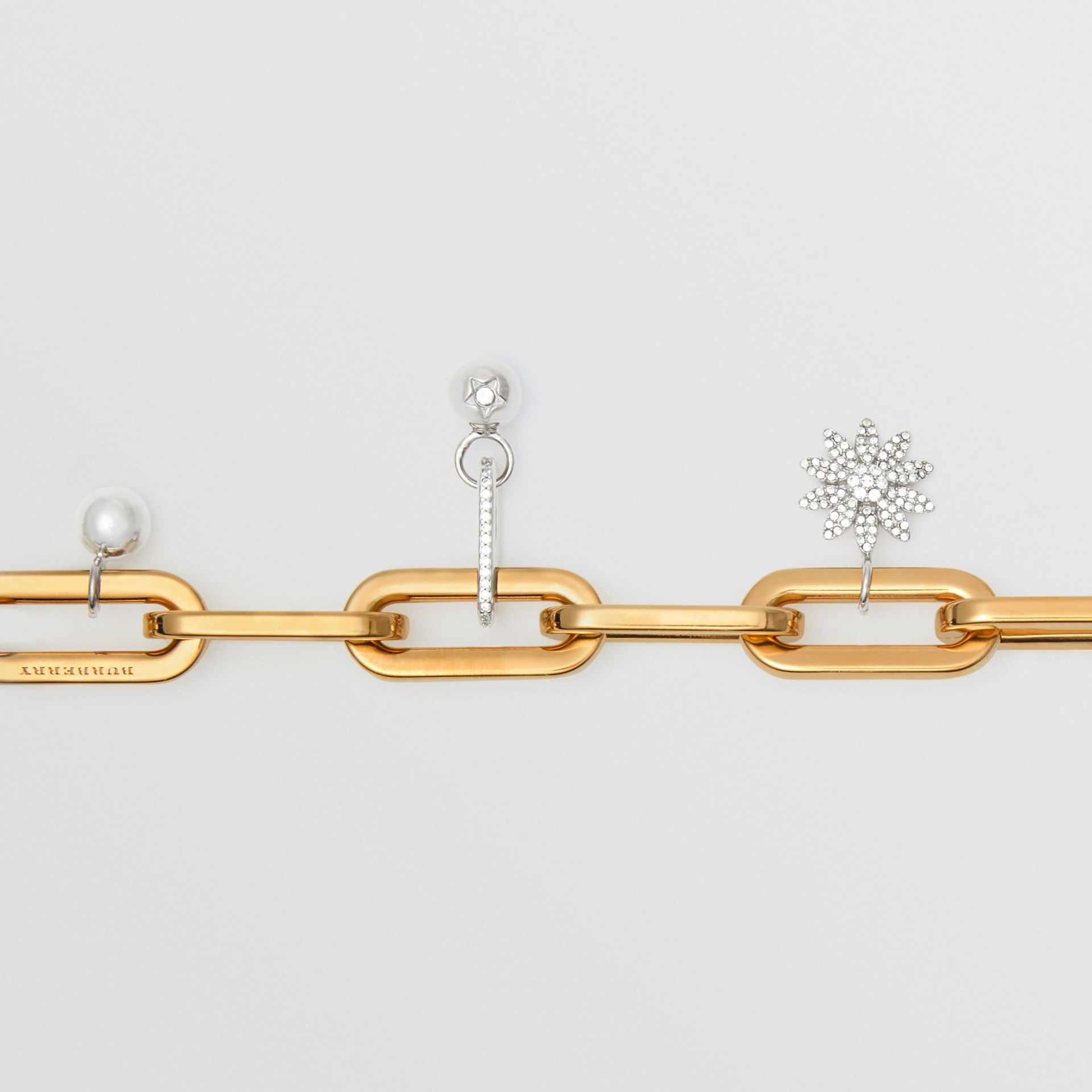 Crystal Charm Gold and Palladium-plated Bracelet in Light Gold/palladio - Women | Burberry Canada - gallery image 1