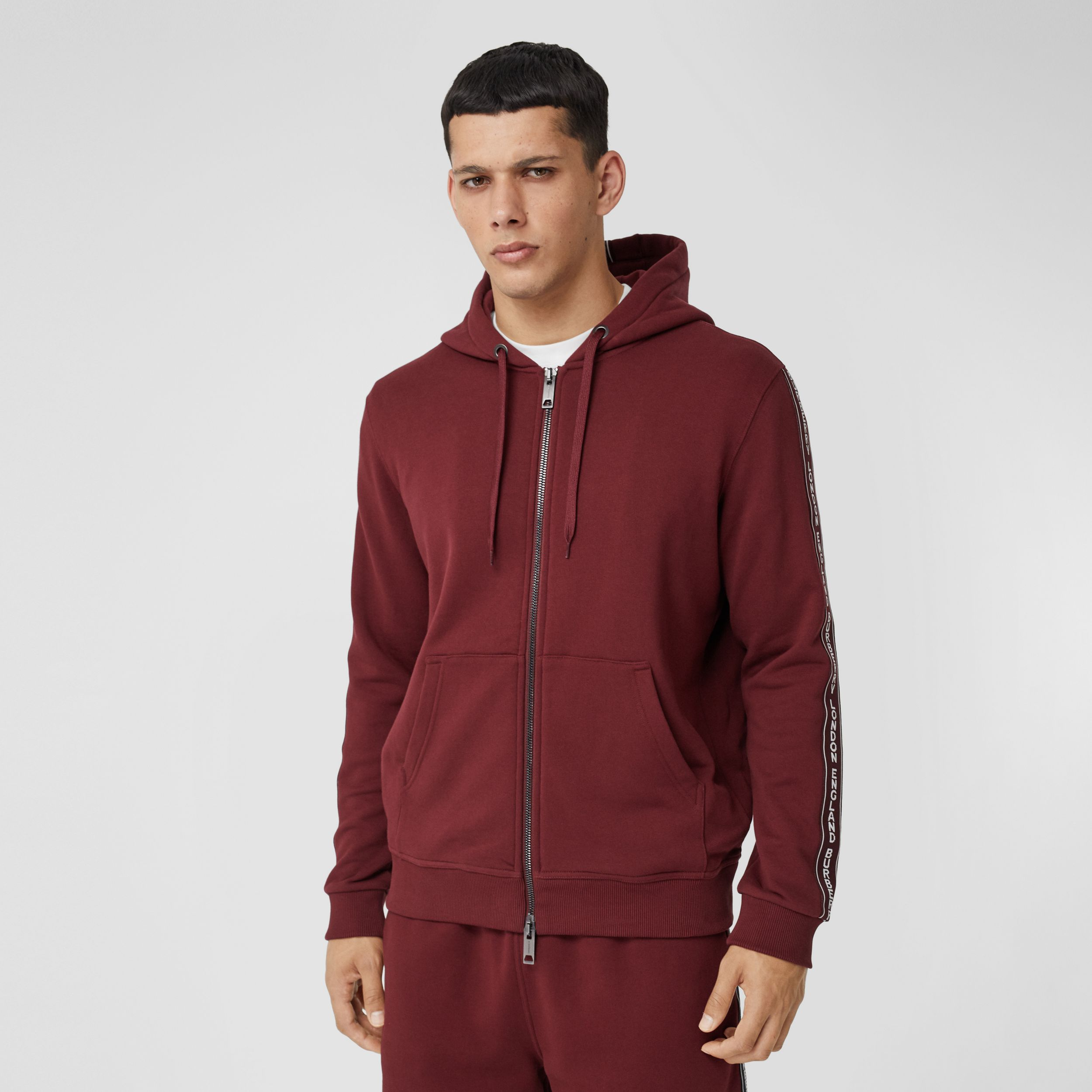 Logo Tape Cotton Hooded Top - Men | Burberry - 1