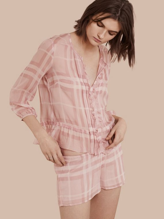 Tonal Check Ruffle Detail Silk Crepon Top Pale Pink