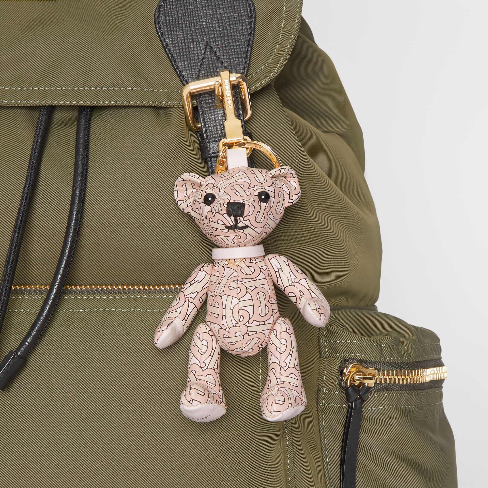 Thomas Bear Charm in Monogram Print Leather in Blush Pink - Women | Burberry - gallery image 4