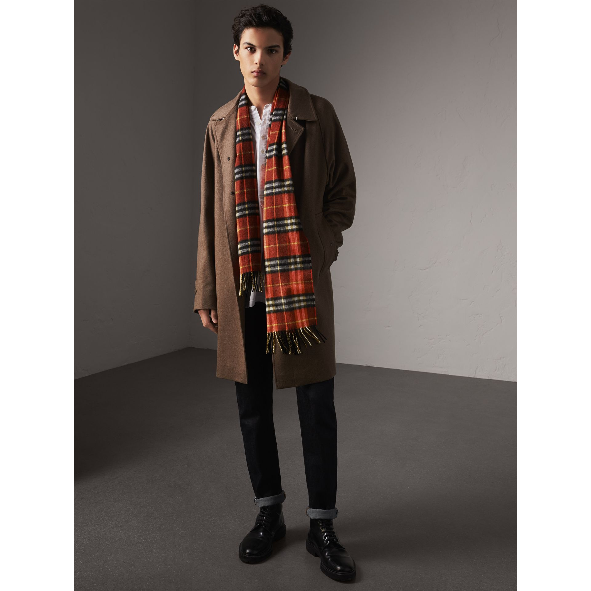 Check Cashmere Scarf in Orange Red | Burberry - gallery image 4