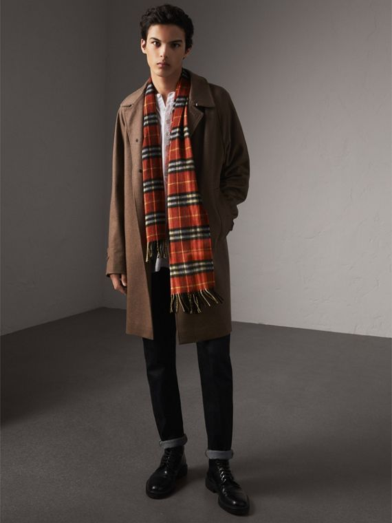 Check Cashmere Scarf in Orange Red | Burberry