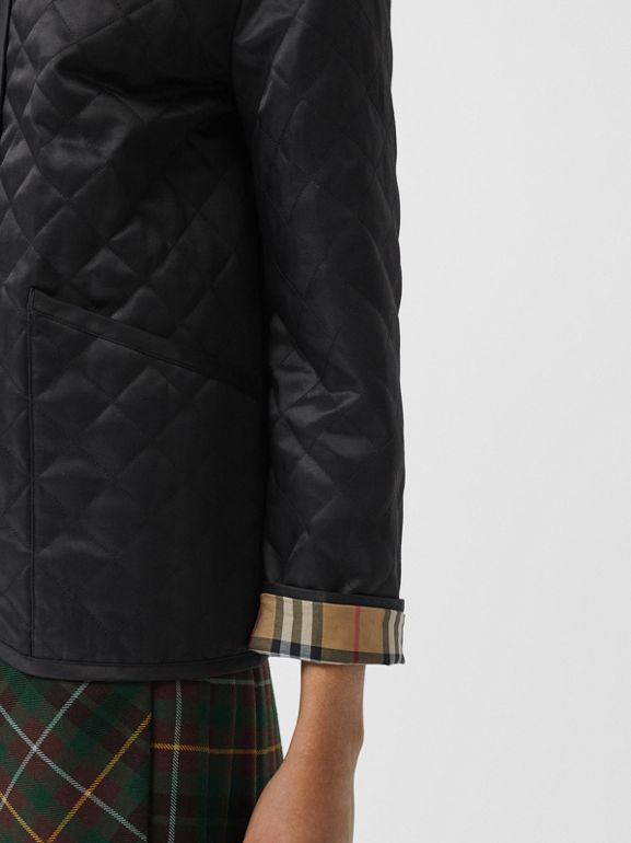 Diamond Quilted Barn Jacket in Black - Women | Burberry - cell image 1