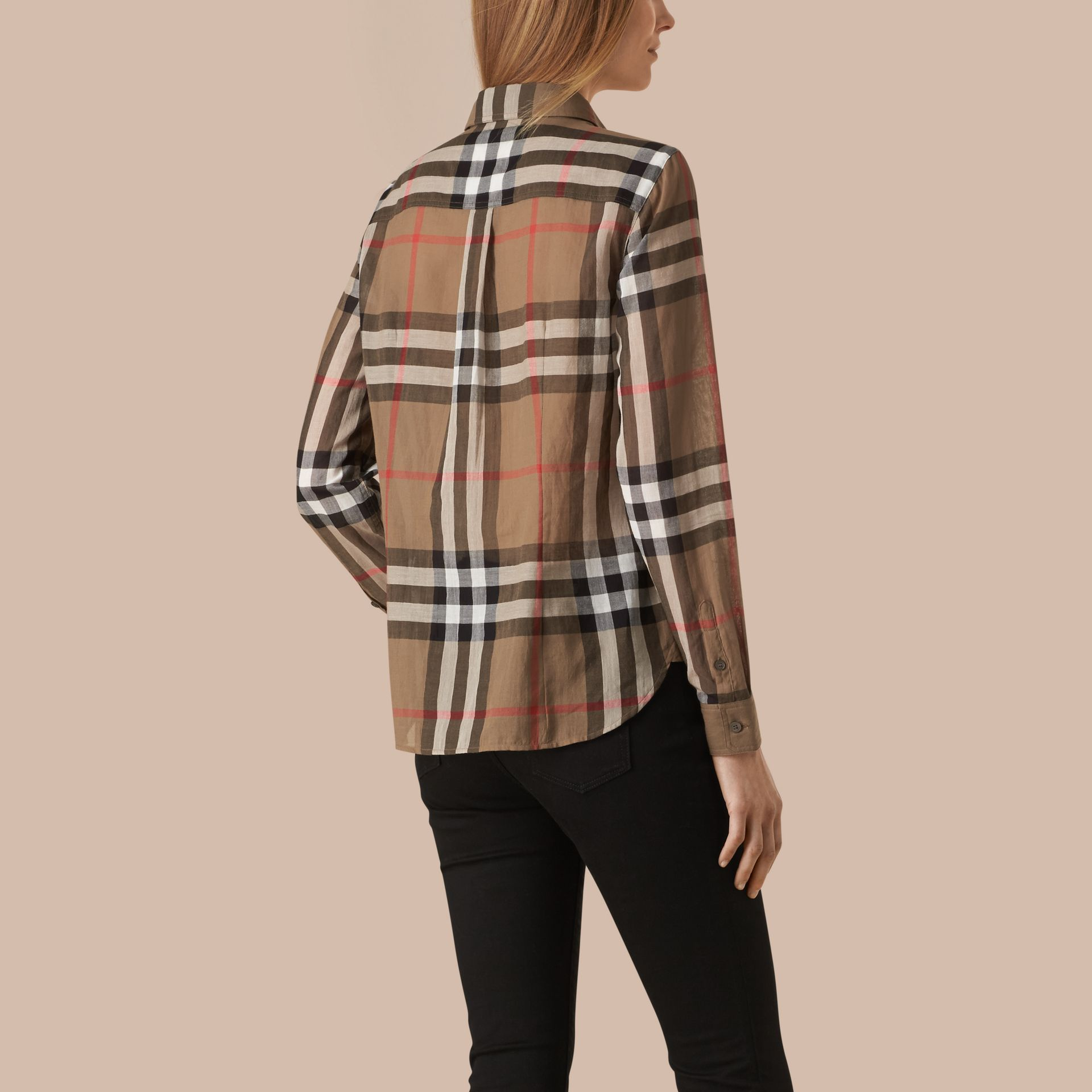 Taupe brown Check Cotton Shirt Taupe Brown - gallery image 3