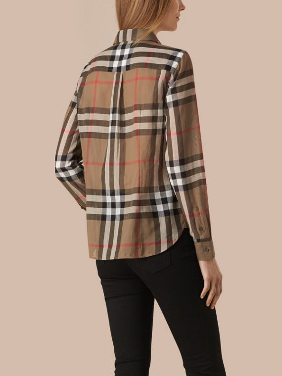 Taupe brown Check Cotton Shirt Taupe Brown - cell image 2