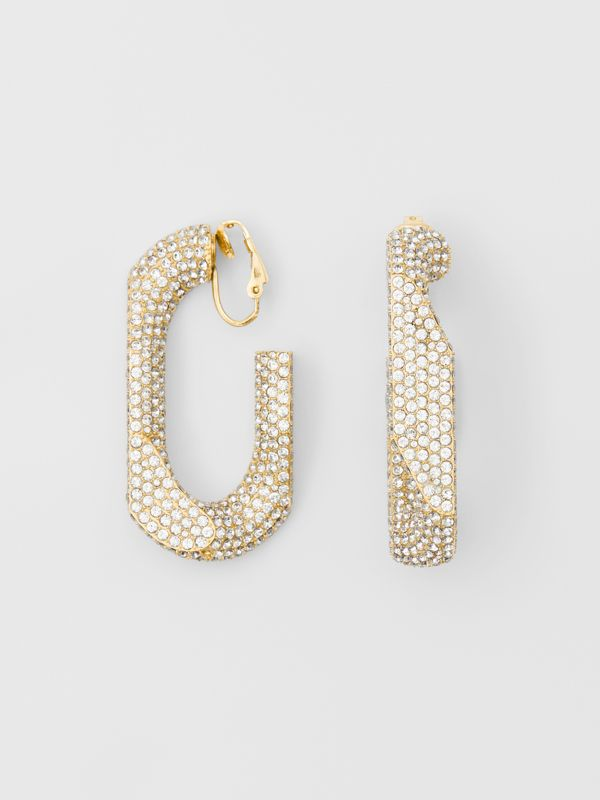 Crystal Gold-plated Chain-link Hoop Earrings in Light Gold/crystal - Women | Burberry - cell image 3