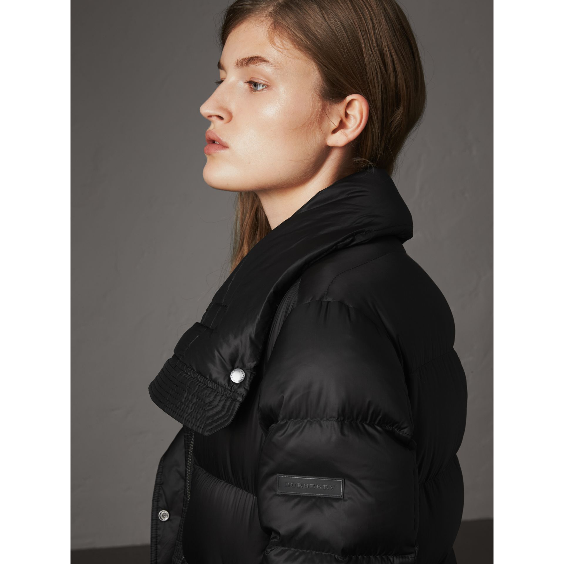 Detachable Hood Long Down-filled Puffer Coat in Black - Women | Burberry Australia - gallery image 5