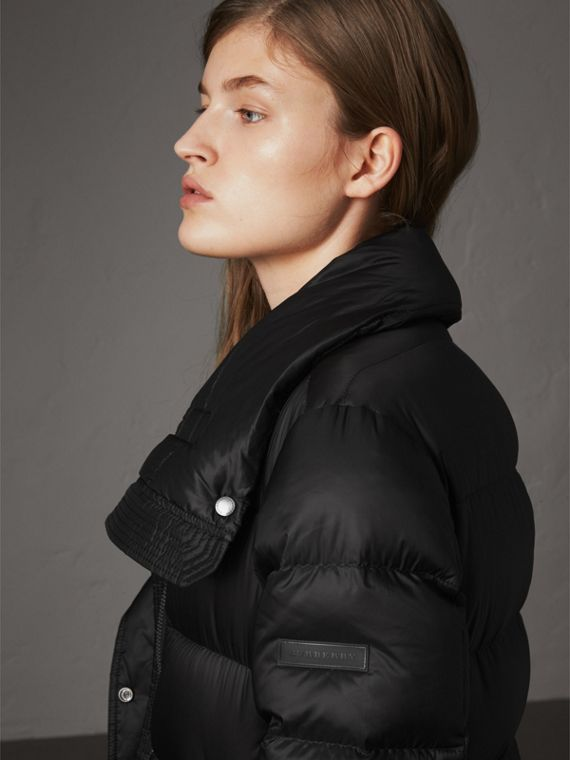 Detachable Hood Long Down-filled Puffer Coat in Black - Women | Burberry - cell image 3