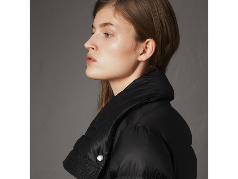 Detachable Hood Long Down-filled Puffer Coat in Black - Women | Burberry Australia - cell image 4