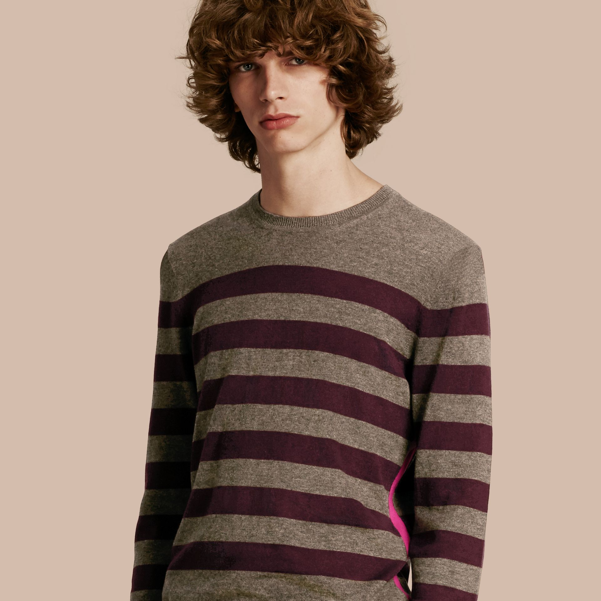 Striped Cashmere Cotton Sweater Mink Grey - gallery image 1