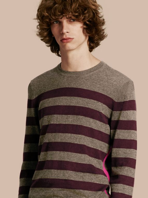 Striped Cashmere Cotton Sweater in Mink Grey