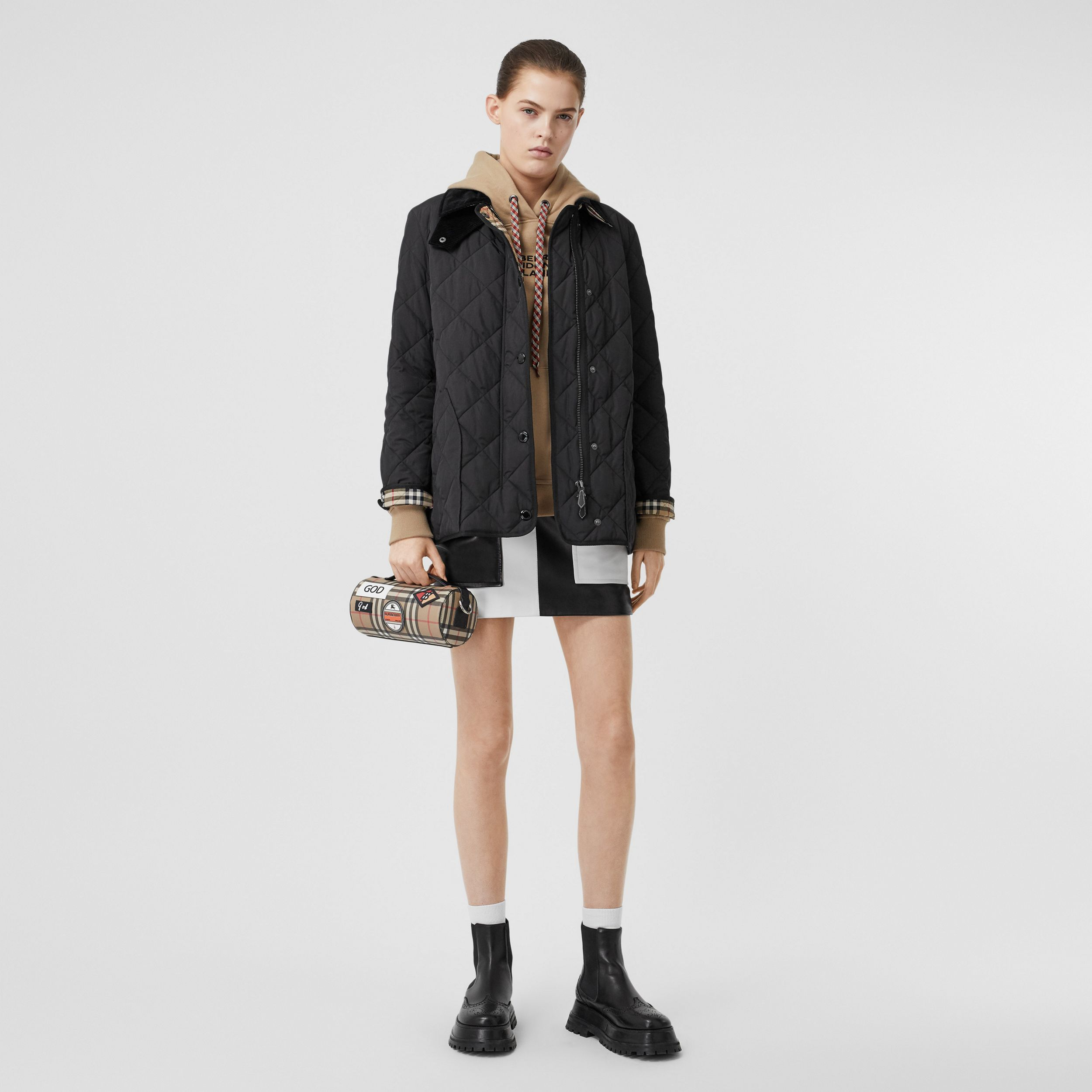 Diamond Quilted Thermoregulated Barn Jacket in Black - Women | Burberry - 1