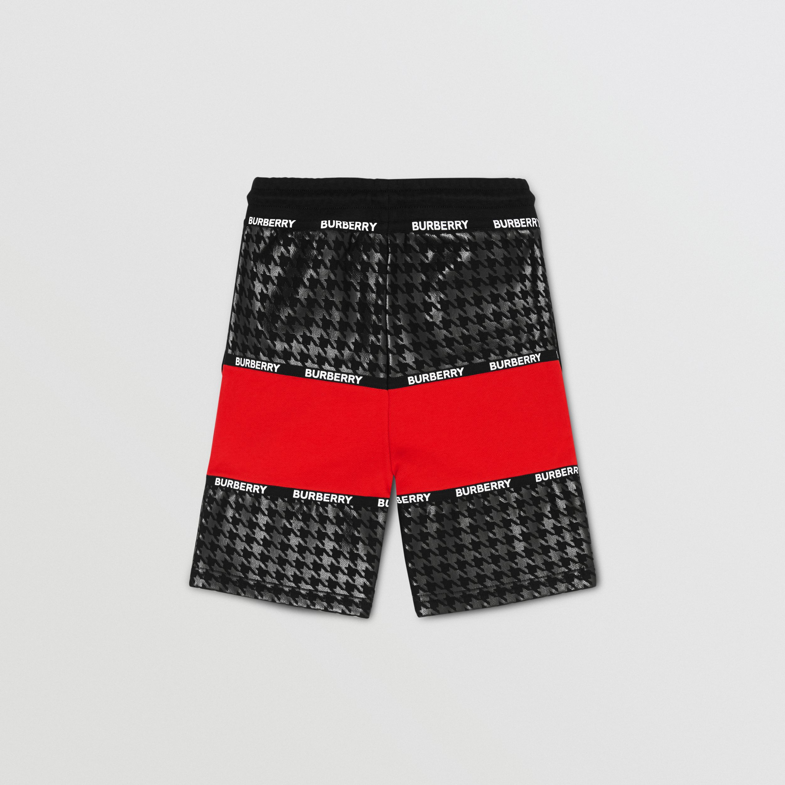 Houndstooth Check Panel Cotton Shorts in Bright Red | Burberry - 4