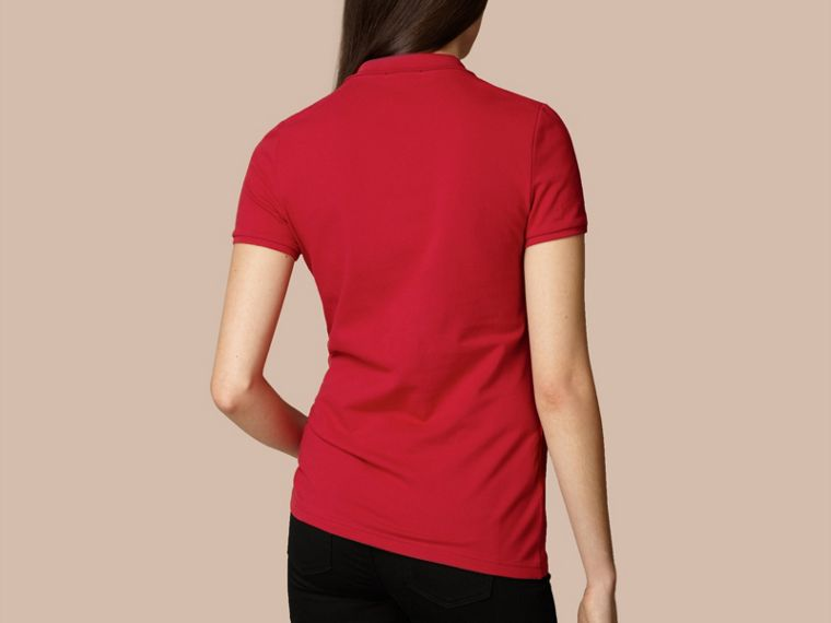 Cotton Piqué Polo Shirt in Military Red - cell image 2