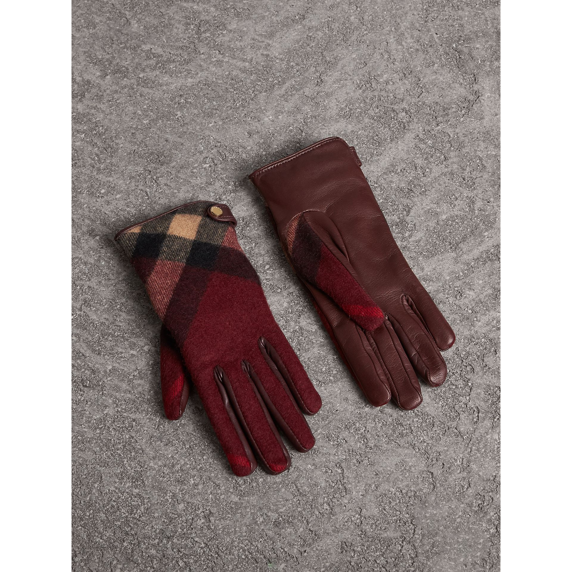 Leather and Check Cashmere Gloves in Claret - Women | Burberry - gallery image 0
