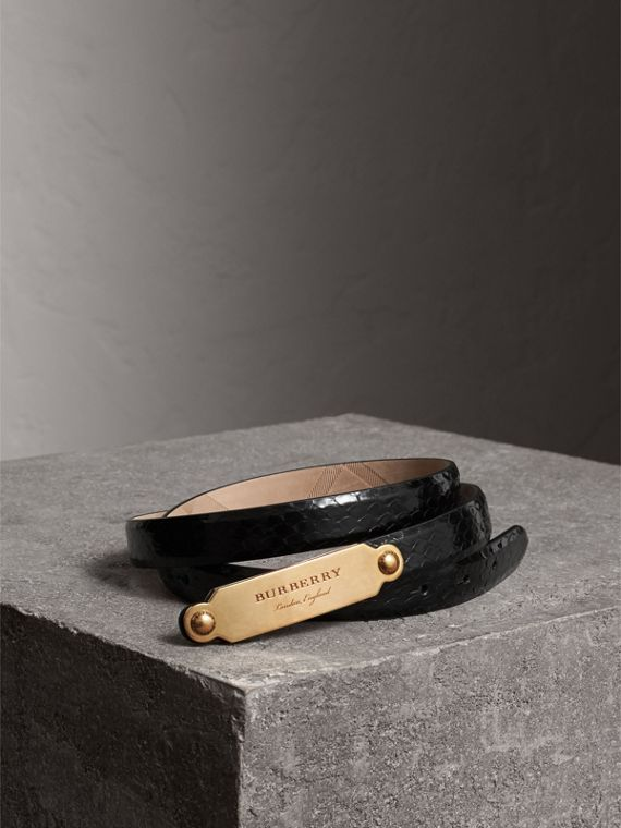 Brass Plaque Buckle Python Belt in Black