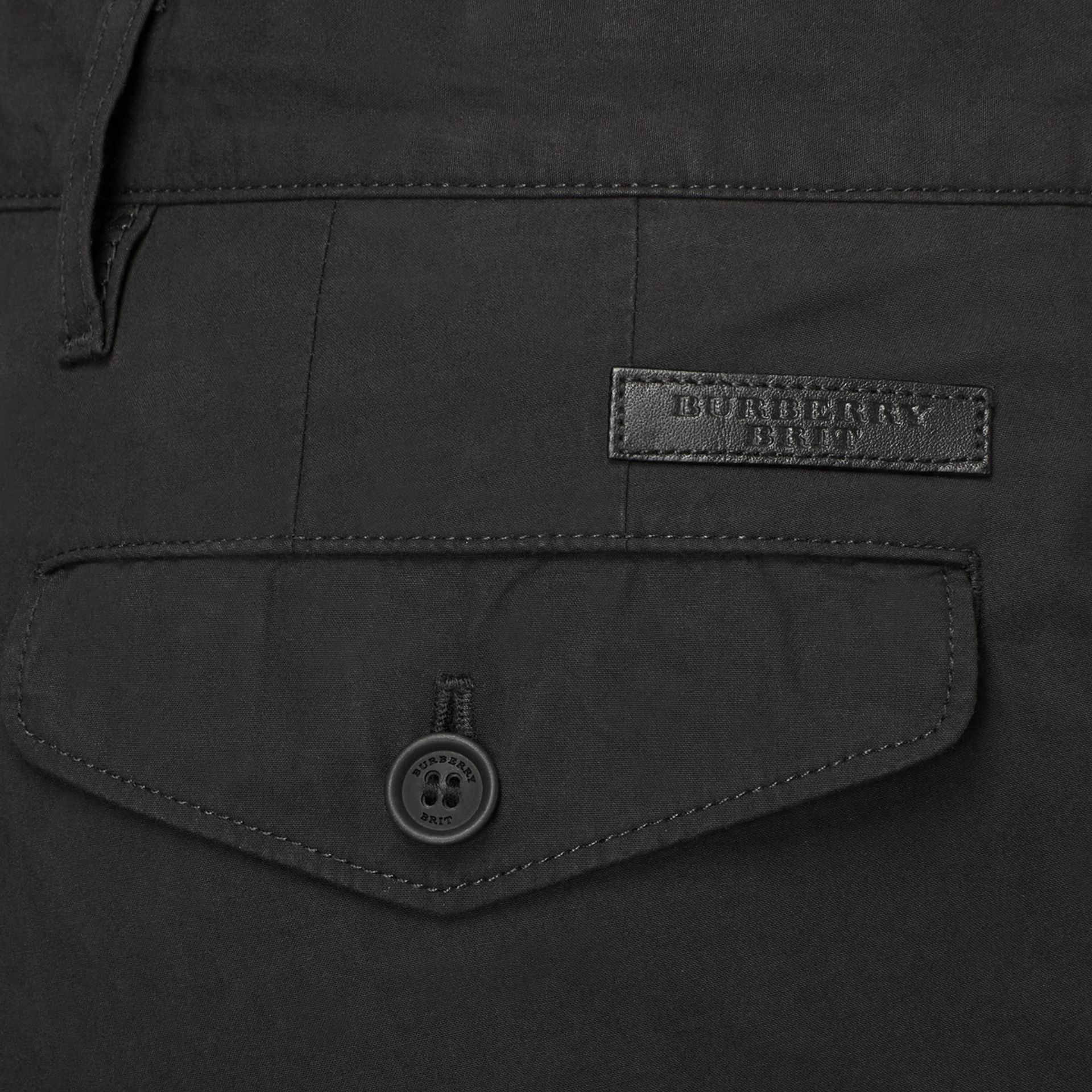 Slim Fit Cotton Poplin Chinos in Black - Men | Burberry United States - gallery image 3