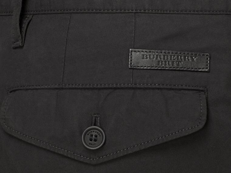 Slim Fit Cotton Poplin Chinos in Black - Men | Burberry - cell image 2
