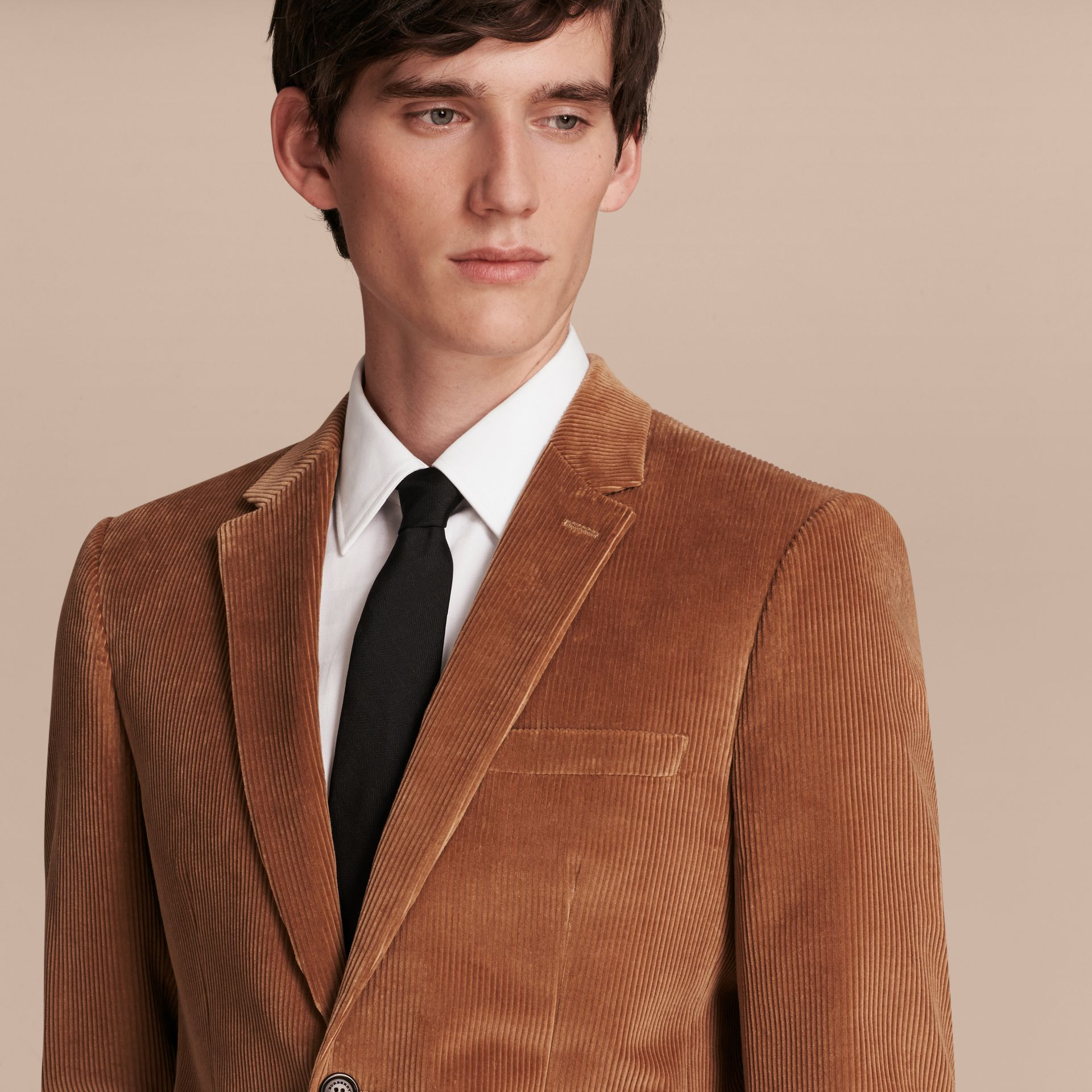 Camel Slim Fit Cotton Corduroy Jacket Camel - gallery image 6