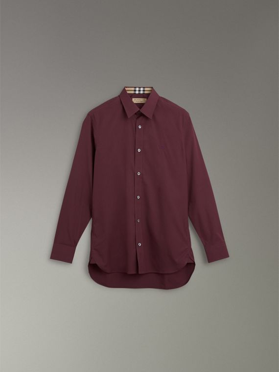 Check Cuff Stretch Cotton Poplin Shirt in Oxblood - Men | Burberry - cell image 3