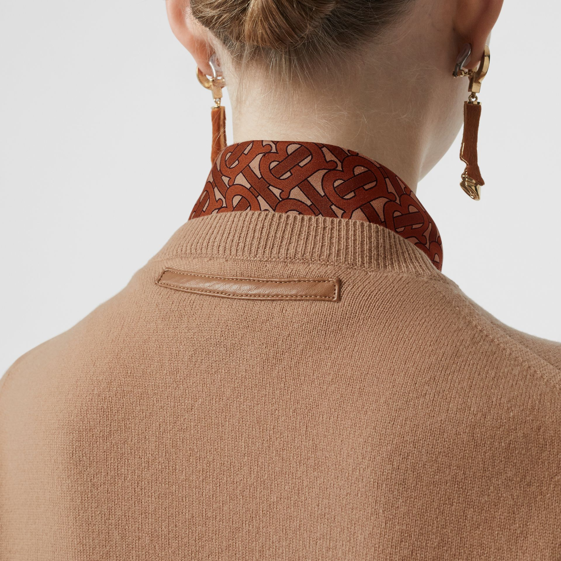Monogram Print Silk Detail Cashmere Cardigan in Acorn - Women | Burberry - gallery image 1
