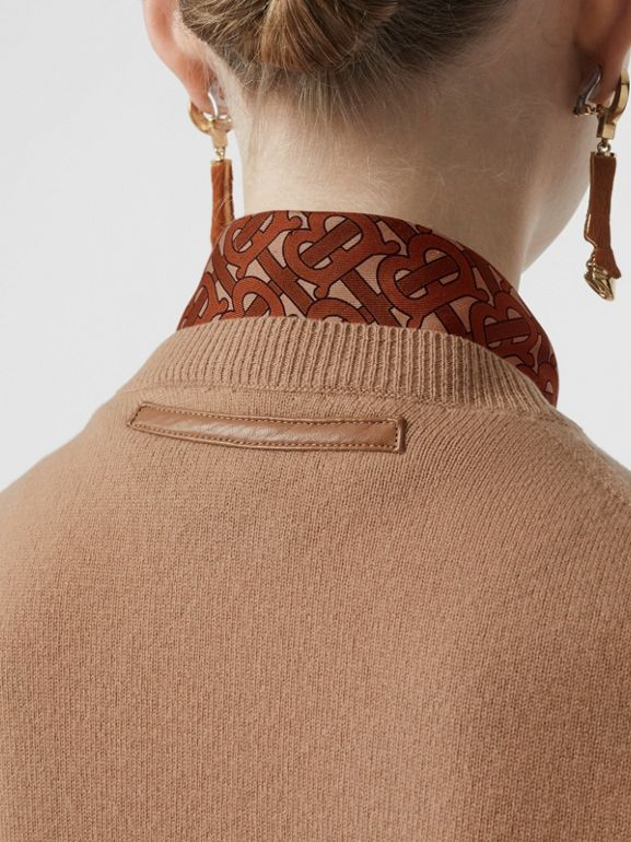 Monogram Print Silk Detail Cashmere Cardigan in Acorn - Women | Burberry - cell image 1