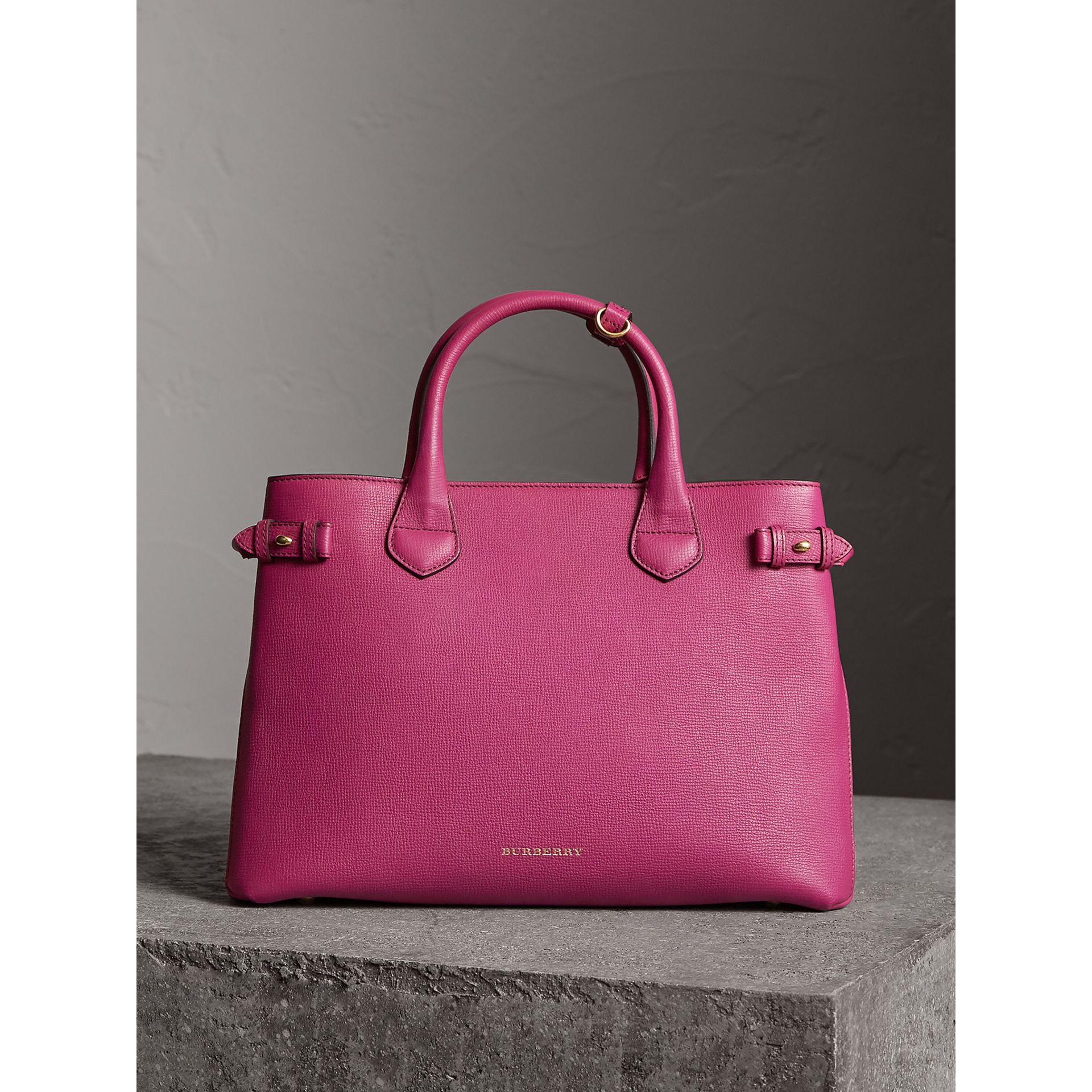 The Medium Banner in Leather and House Check in Brilliant Fuchsia - Women | Burberry - gallery image 7