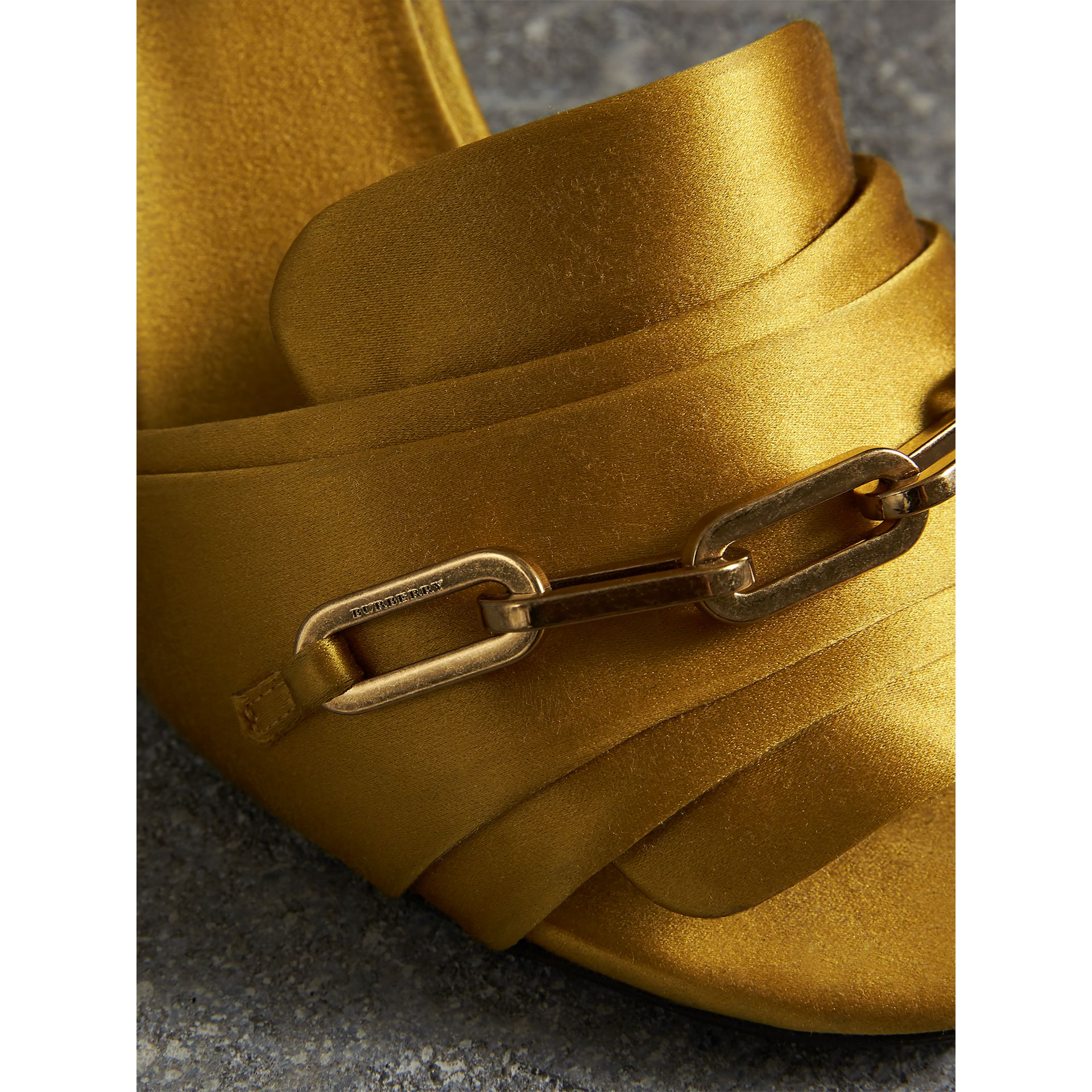 Link Detail Perspex Heel Satin Sandals in Antique Yellow - Women | Burberry United Kingdom - gallery image 1