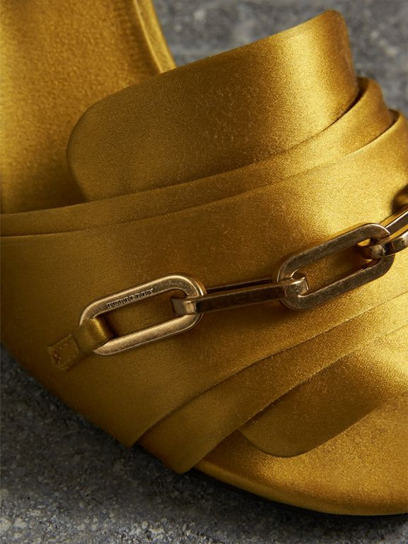 Link Detail Perspex Heel Satin Sandals in Antique Yellow - Women | Burberry Canada - cell image 1