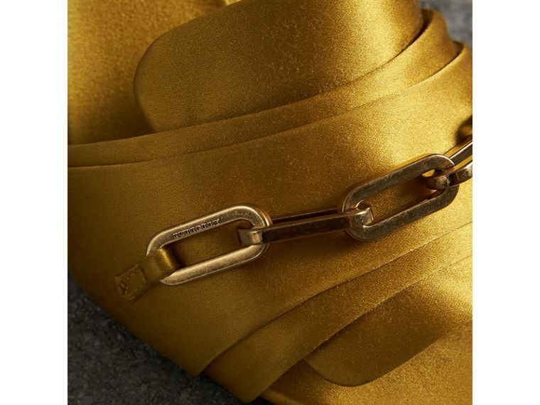 Link Detail Perspex Heel Satin Sandals in Antique Yellow - Women | Burberry - cell image 1
