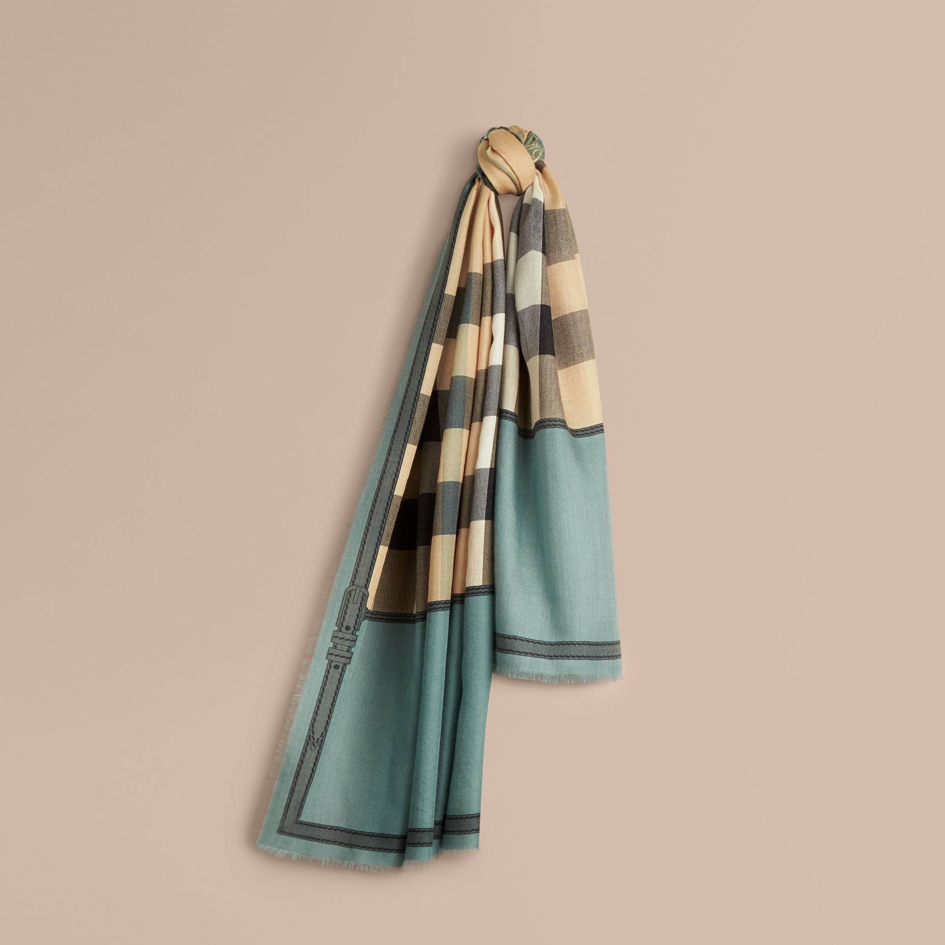Storm green Contrast Border Horseferry Check Cashmere Scarf Storm Green - gallery image 1
