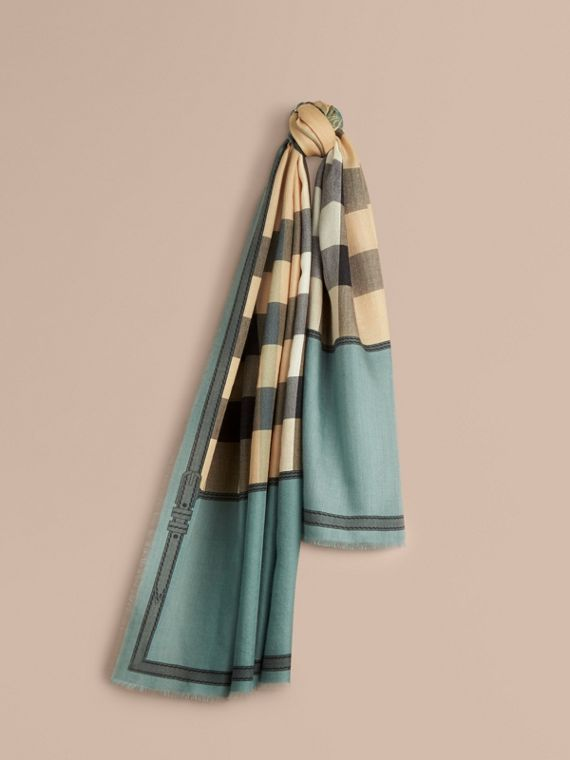 Contrast Border Horseferry Check Cashmere Scarf Storm Green