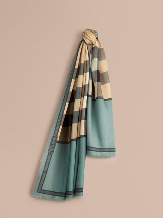 Cachecol de cashmere com padrão Horseferry check e borda contrastante Verde Tempestade