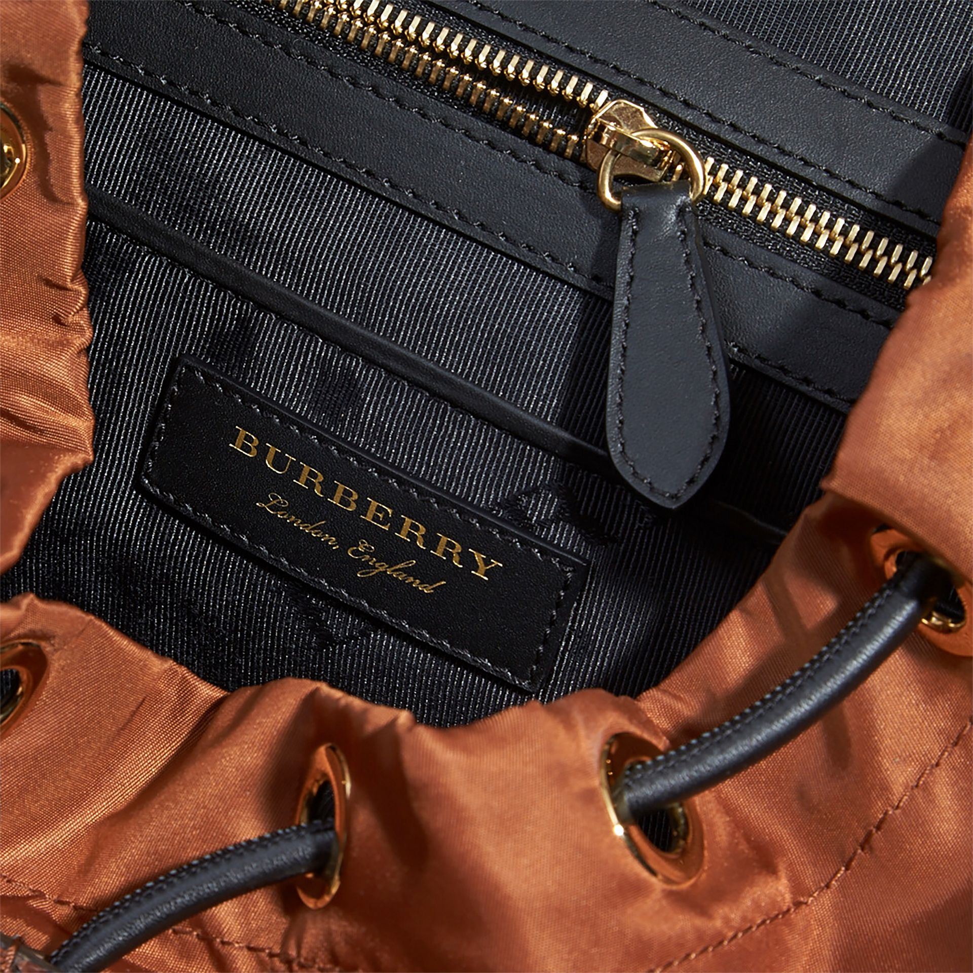The Large Rucksack in Technical Nylon and Snakeskin in Redwood/tan - Women | Burberry - gallery image 7