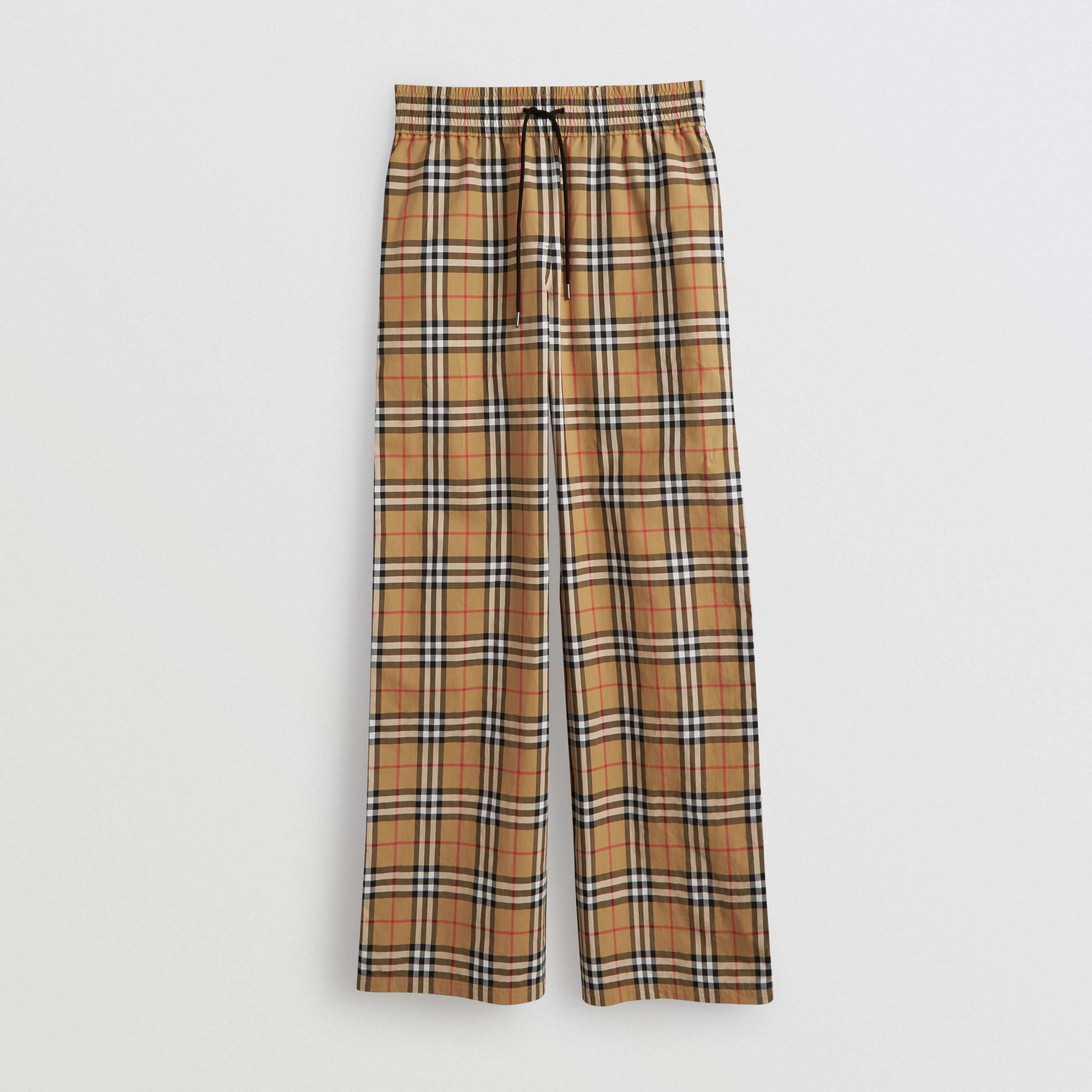 Satin Trim Vintage Check Cotton Trousers in Antique Yellow - Women | Burberry - 4