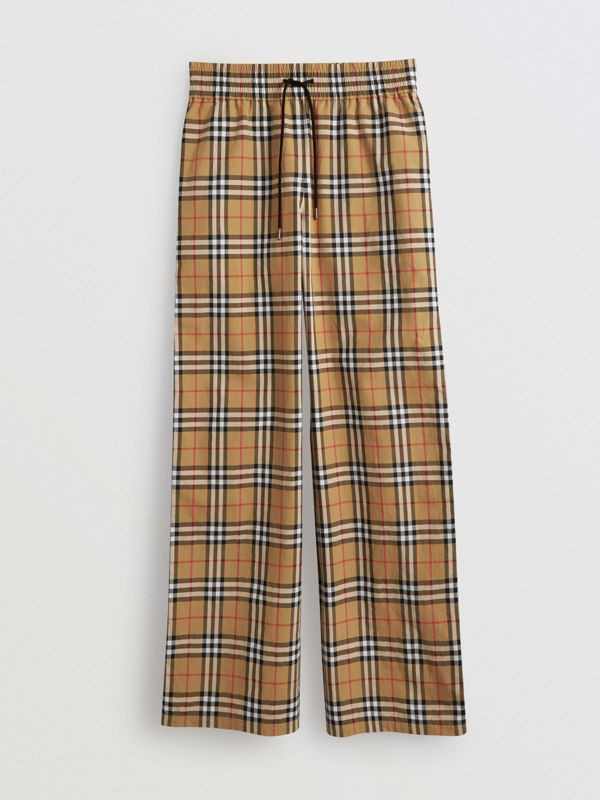 Satin Trim Vintage Check Cotton Trousers in Antique Yellow - Women | Burberry - cell image 3