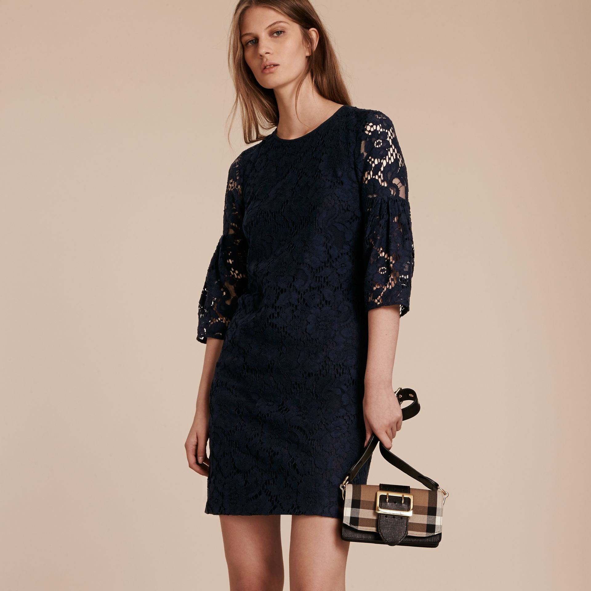 Navy Puff-sleeved Floral Lace Shift Dress Navy - gallery image 6
